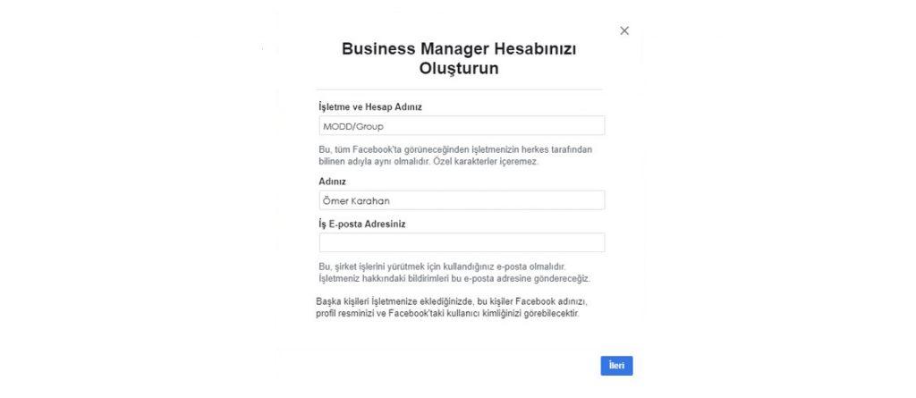 business manager işletme kaydı