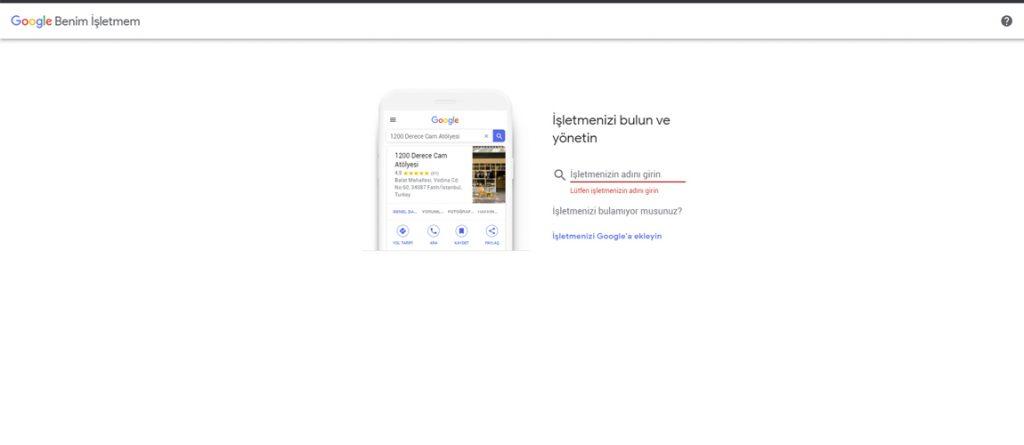 google harita işletme adı