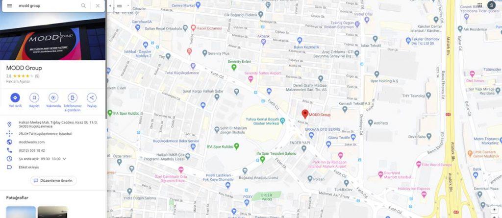 google harita görünümü