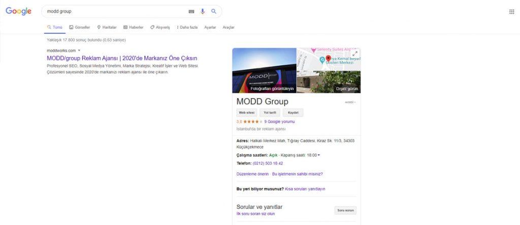 google arama sonuçlarında harita